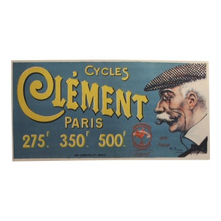 Original 1890 French Poster Cycles Clement, Older Man in Cap