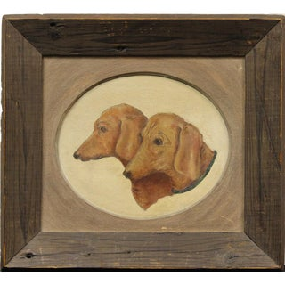 Pair of Dachshunds Oil on Canvas