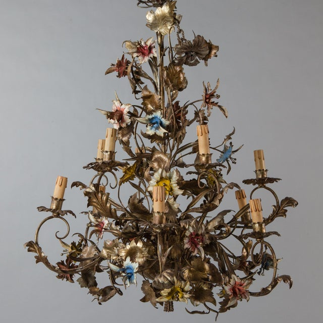 French Large All Tole Floral Chandelier - Image 3 of 11
