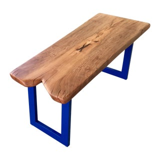 Sycamore Wood Coffee Table with Blue Legs