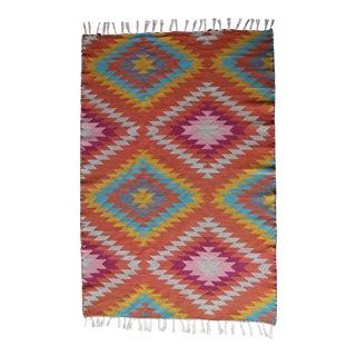 Flat Weave Diamond Wool Kilim Rug - 4' x 6'