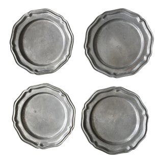 Crown & Castle Pewter Bread Plates - Set of 4