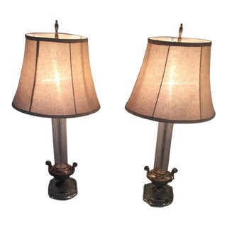 1940s Etched Glass Table Lamps- A Pair