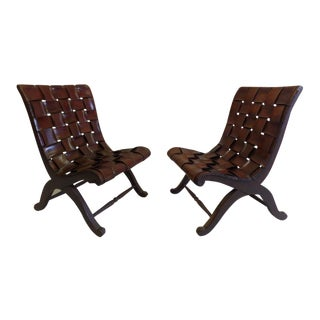 Pair of Spanish Modern Neoclassical Leather Strap Chairs by Pierre Lottier