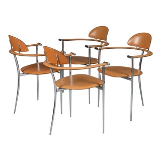 Italian Stiletto Armchairs in Chromed Metal & Cognac Leather by Arrben, 1950s - Set of 4