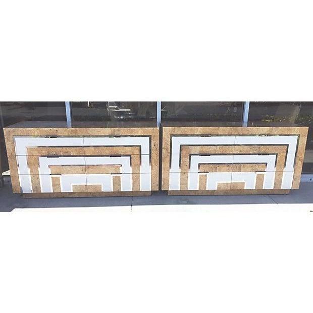 Mid-Century Burl Wood & White Mica Dressers - Pair - Image 2 of 8