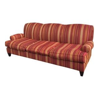 Room & Board Red Raised Stripes Tight Back Sofa