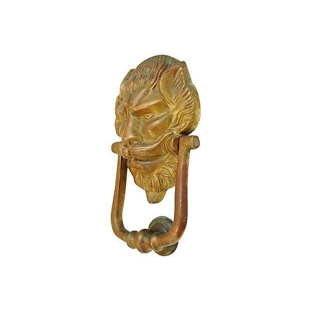 Vintage Lion Door Knocker & Strike Button - Image 3 of 8