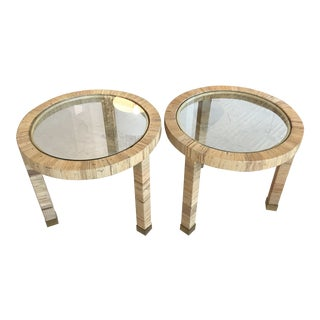 Wicker Wrapped Round Side Tables - a Pair
