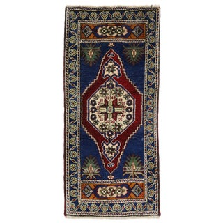 Vintage Yastik Turkish Rug with Modern Traditional Style, 1'7 x 3'6