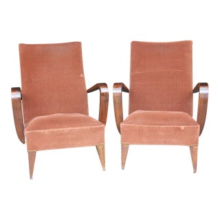 French Art Deco Carved Walnut Club Chairs - Pair