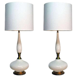 Pair of Tall White Ceramic Table Lamps by Laurel Lamp Company