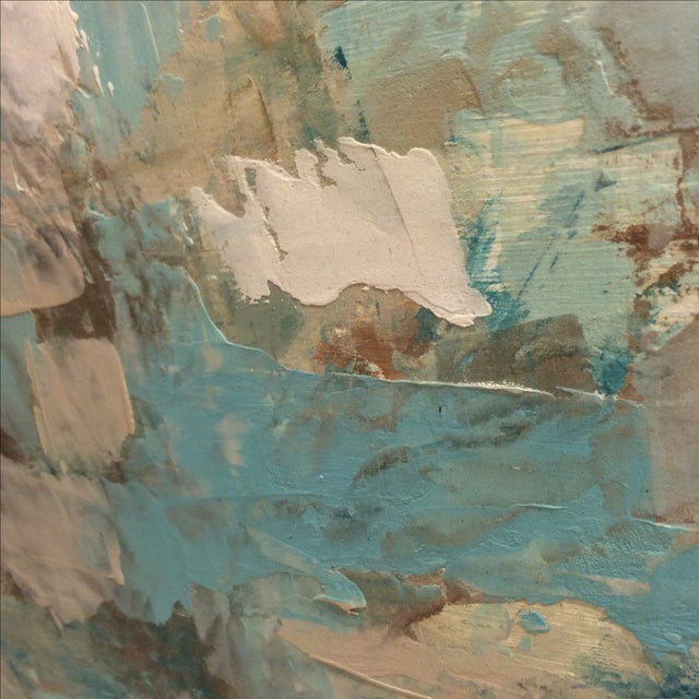 Raw Turquoise Acrylic & Plaster Abstract Painting - Image 6 of 9