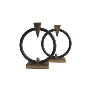 Geometric Memphis Style Brass Candleholders