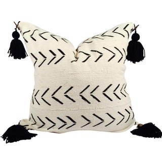 "22"" Pompom Black & White Mud Cloth Pillow"