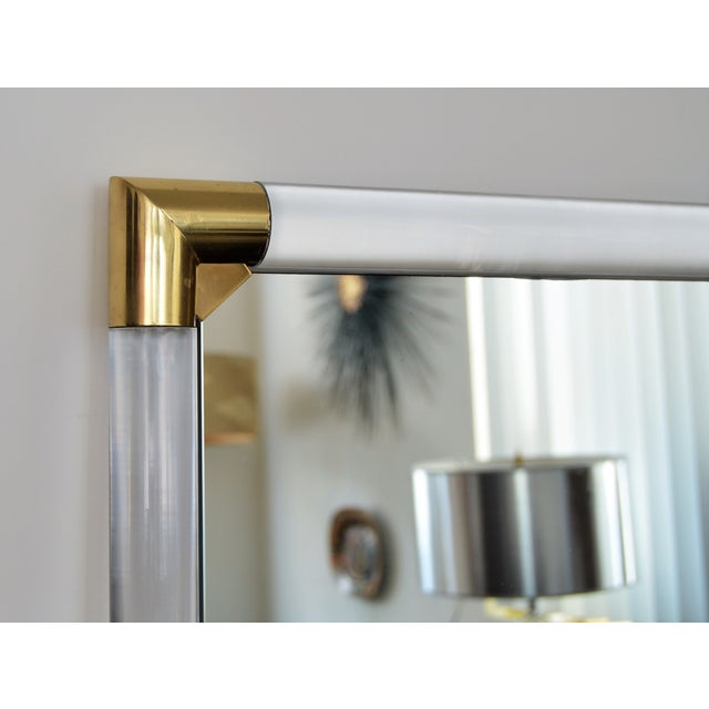 Mid-Century Modern Lucite & Brass Wall Mirror Charles Hollis Jones Style - Image 8 of 11