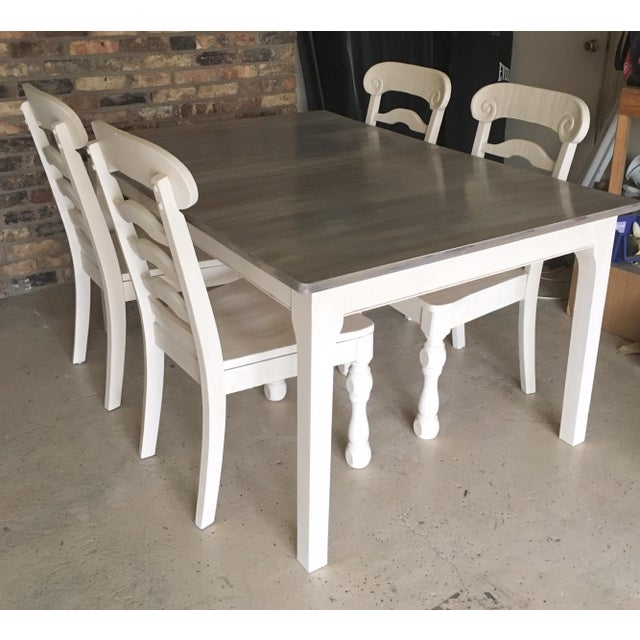 Rustic Pine Wood Dining Set - Image 2 of 10