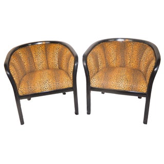 Art Deco Black Lacquer Leopard Chairs - A Pair
