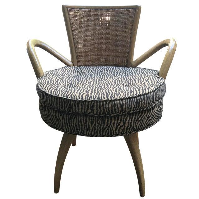 Zebra Upholstered Cane Back Swivel Chair - Image 1 of 7