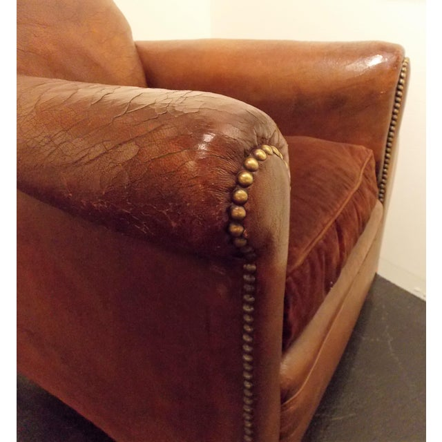 French Vintage Leather Club Chair - Image 6 of 7