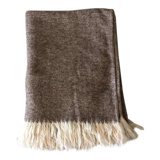 Brown & Ivory Woven Cotton Throw
