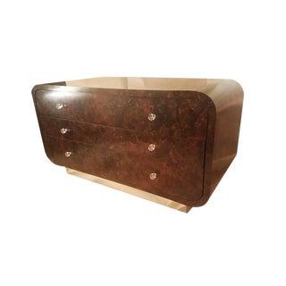 Mid-Century Modern Burlwood & Chrome Dresser