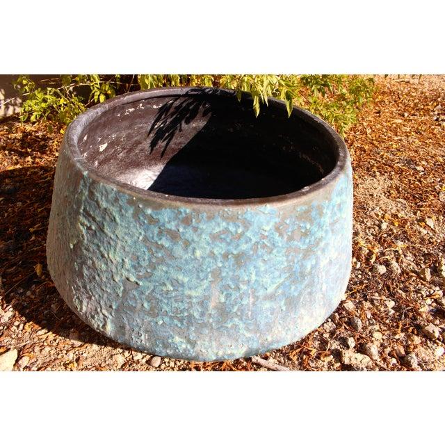 Mid-Century Blue Fat Lava Glaze Drip Planter Pot - Image 6 of 10