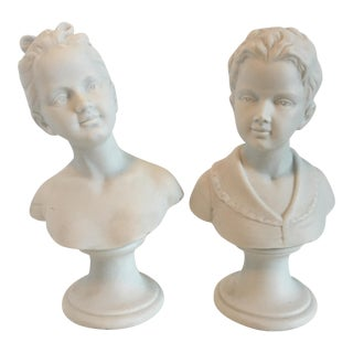 Vintage Boy & Girl Bust Statues - A Pair