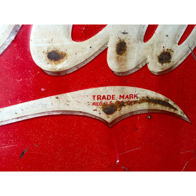 Vintage 1940s Original Metal Coca Cola Sign - Image 5 of 10