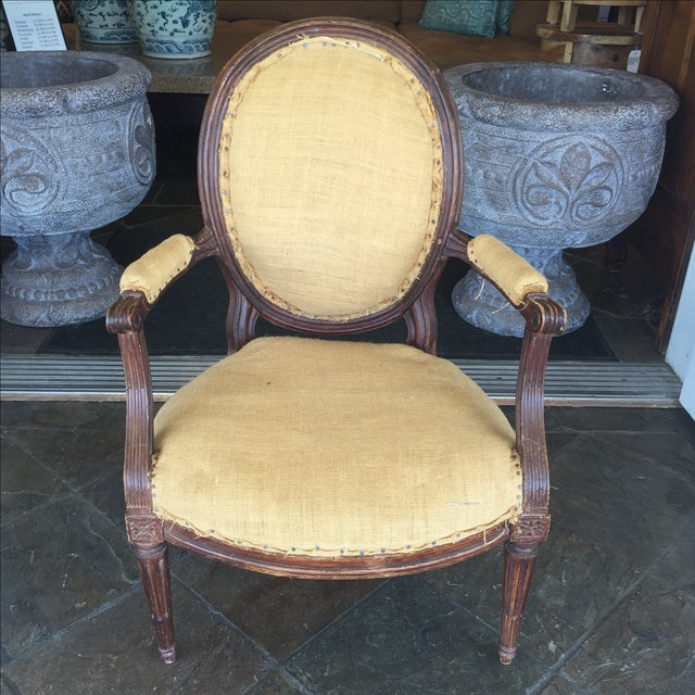 Antique Burlap Upholstered Chair - Image 2 of 8