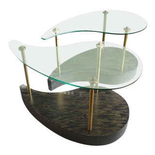 Pair of Organic Form Glass Top Oak Side Tables