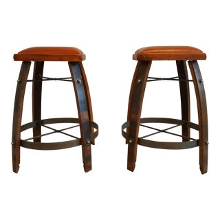 Vintage Reclaimed Wine Barrel Bar Stools - A Pair