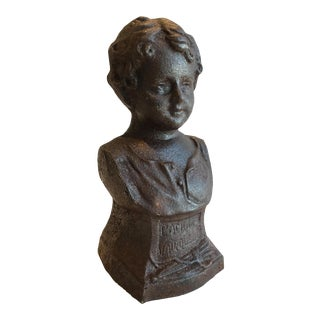 Stunning Chic Antique French Cast Iron Lady Bust