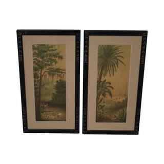 Antique Ebonized Frame Palm Tree Prints - Pair