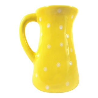 Yellow Pitcher With White Polka Dots