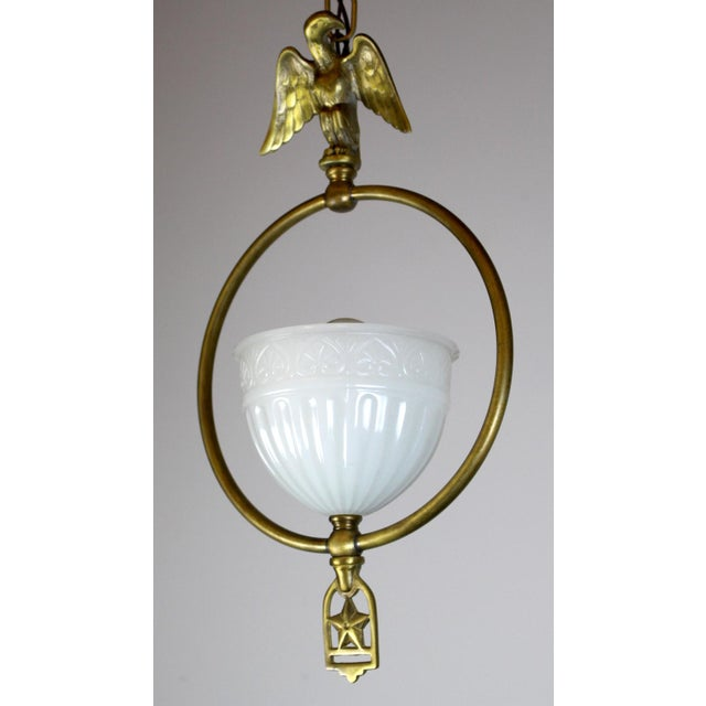 Hall Pendant with Eagle Motif and Original Shade. - Image 5 of 8