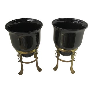 Sarried Black Vases on Brass Stands - A Pair