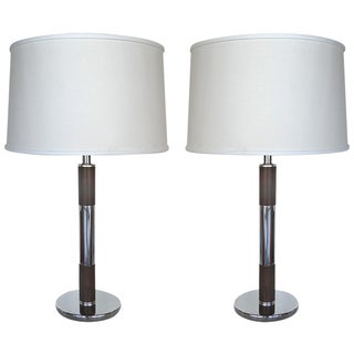 Mid-Century Chrome & Wood Table Lamps - Pair