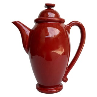 Vintage Red Ceramic Teapot