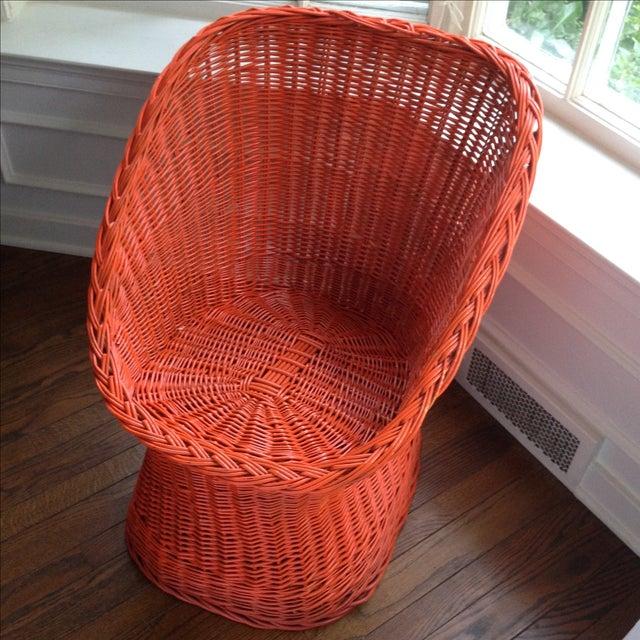 Vintage Bright Orange Wicker Chair - Image 9 of 11