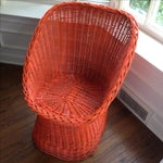 Image of Vintage Bright Orange Wicker Chair