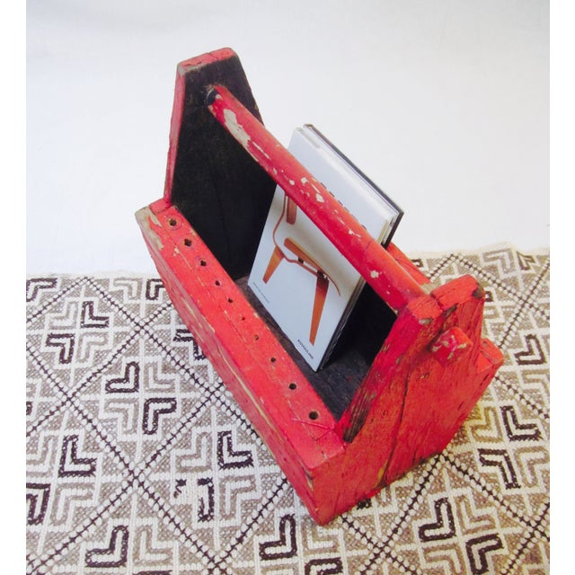 Rustic Red Tool Box Carrier Caddy - Image 7 of 7