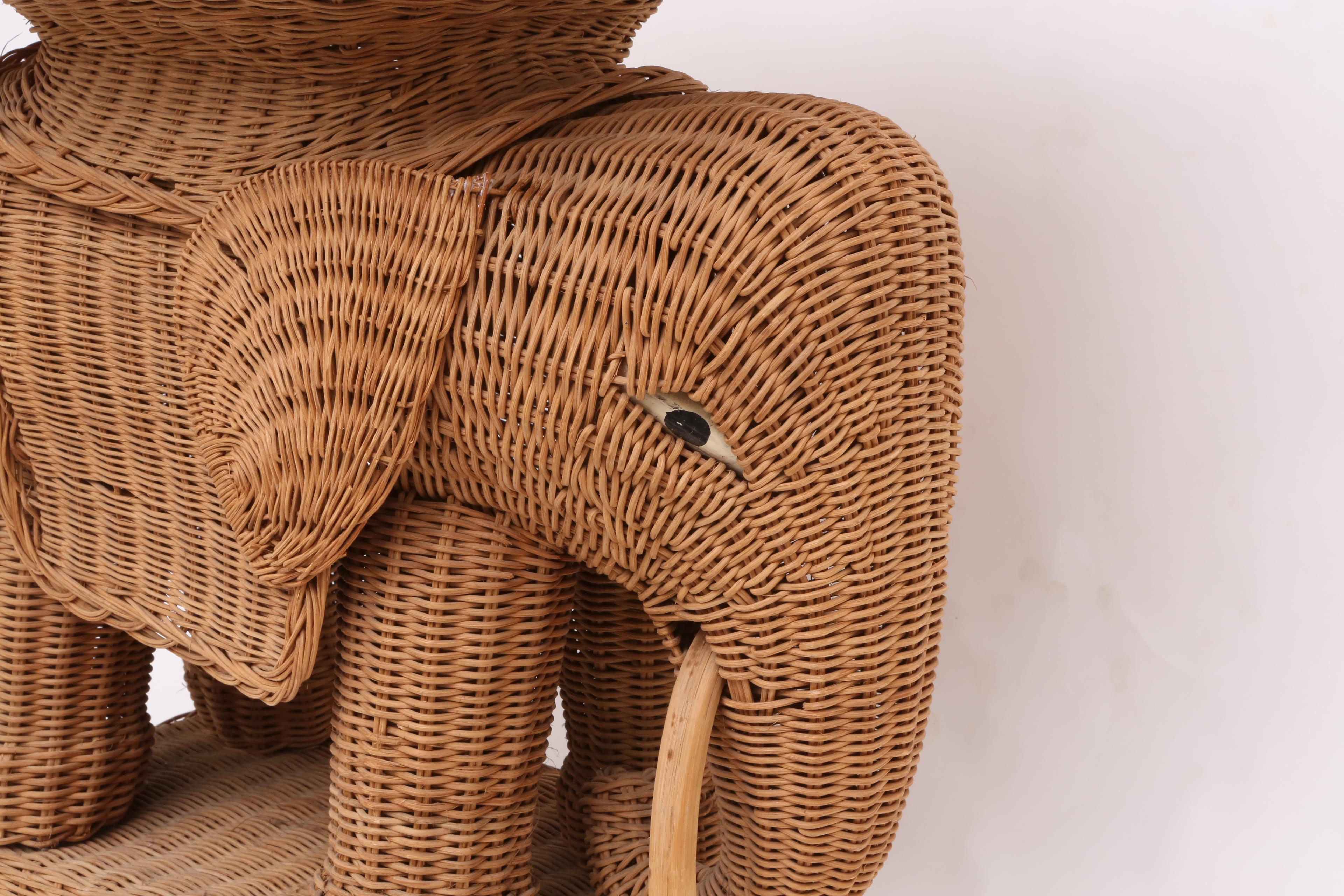 Vintage Rattan Wicker Elephant Side Table   Image 4 Of 9