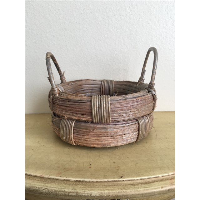 Rustic Wicker Basket, Vintage Holiday Decor - Image 3 of 7