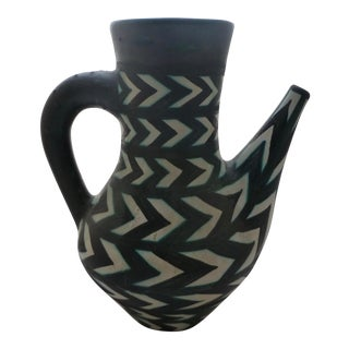 Abstract Herring Bone Art Pottery Pitcher