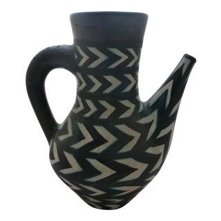 Abstract Herring Bone Art Pottery Pitcher
