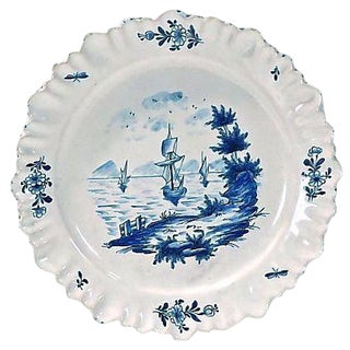Antique Dutch Delft Ships in Cove Plate