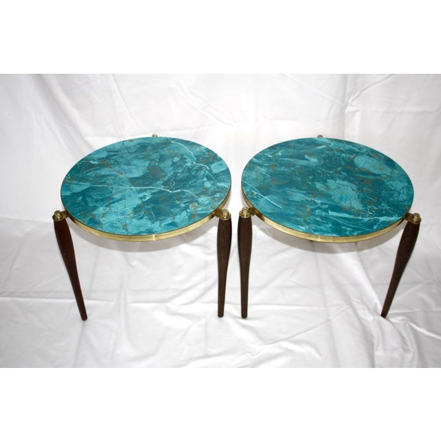 Faux Aqua Marble Stacking Tables - a Pair - Image 3 of 6