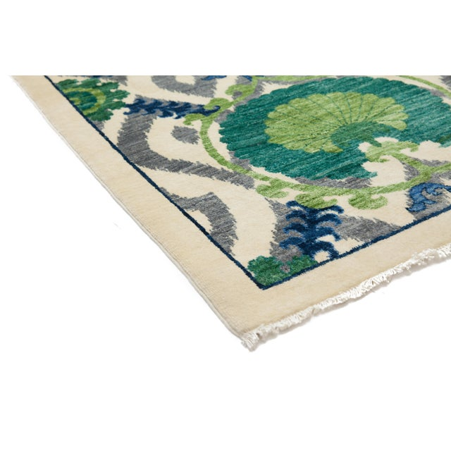"""New Suzani Hand Knotted Area Rug - 3'2"""" x 5'3"""" - Image 2 of 3"""