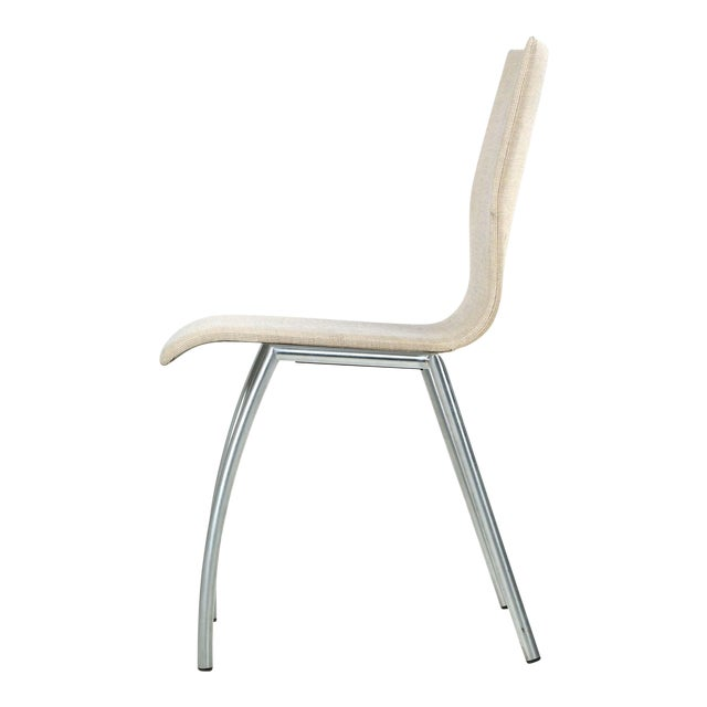 Danish Modern Brushed Steel Side Chair by Kvist - Image 1 of 11